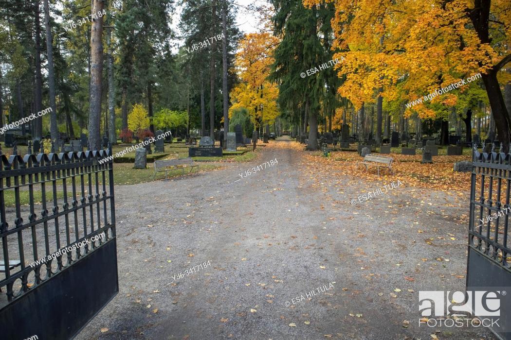Stock Photo: Cemetery in autumn, Lappeenranta Finland.