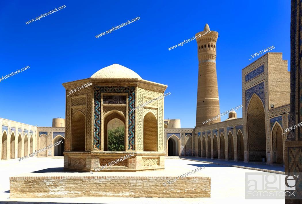 Stock Photo: Bukhara, Uzbekistan - August 27, 2016: The inner court yard of Kalyan Mosque, was built in 1127 CE, part of Poi Kalyan Complex.