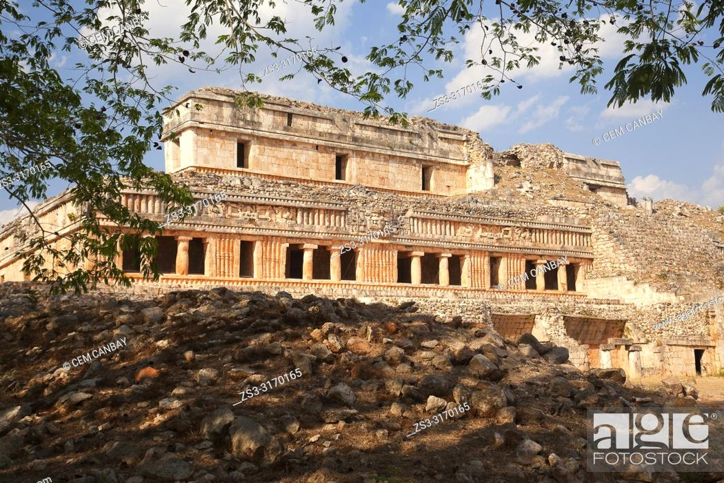 Stock Photo: View to the Great Palace-Palacio Norte at Mayan Archaeological Site Sayil in the Puuc Route, Yucatan Province, Mexico, Central America.