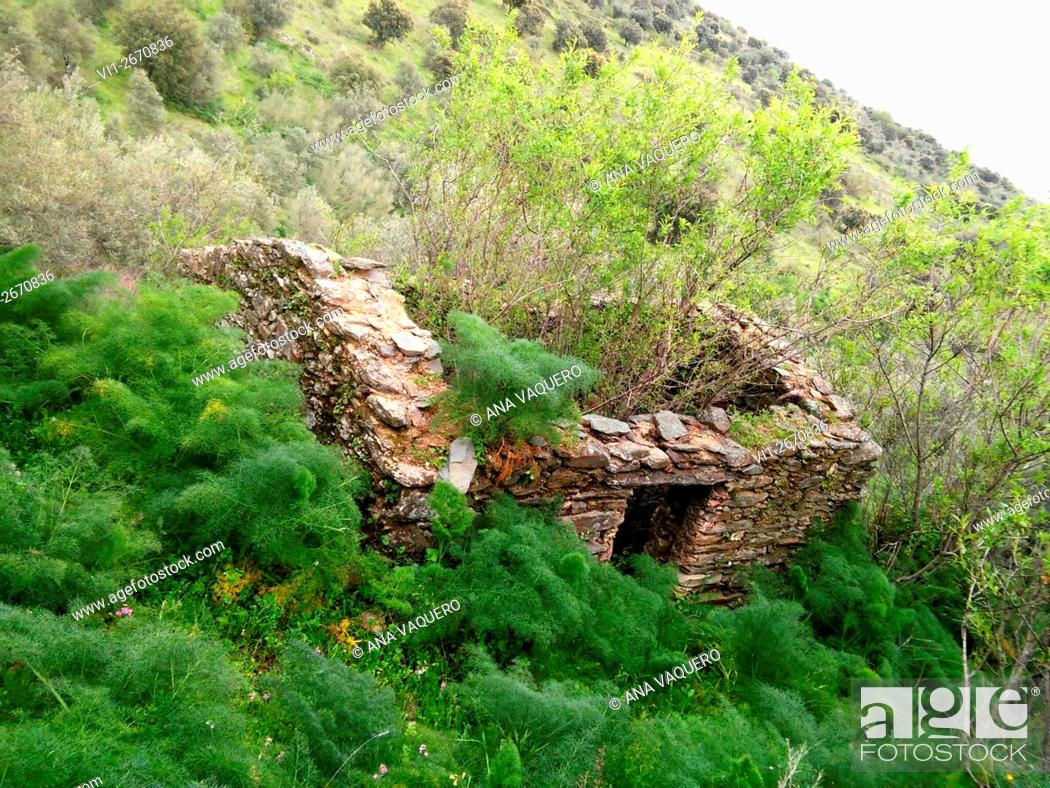 Stock Photo: Falling house Iron Age, The Risco, Zorita, Extremadura, Spain.