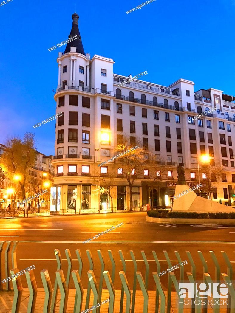 Stock Photo: Building, night view. Goya street, Madrid, Spain.