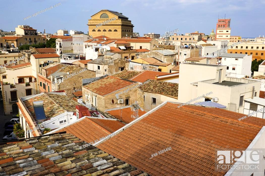 Stock Photo: The Teatro Massimo and roofs of houses in Palermo, Italy.