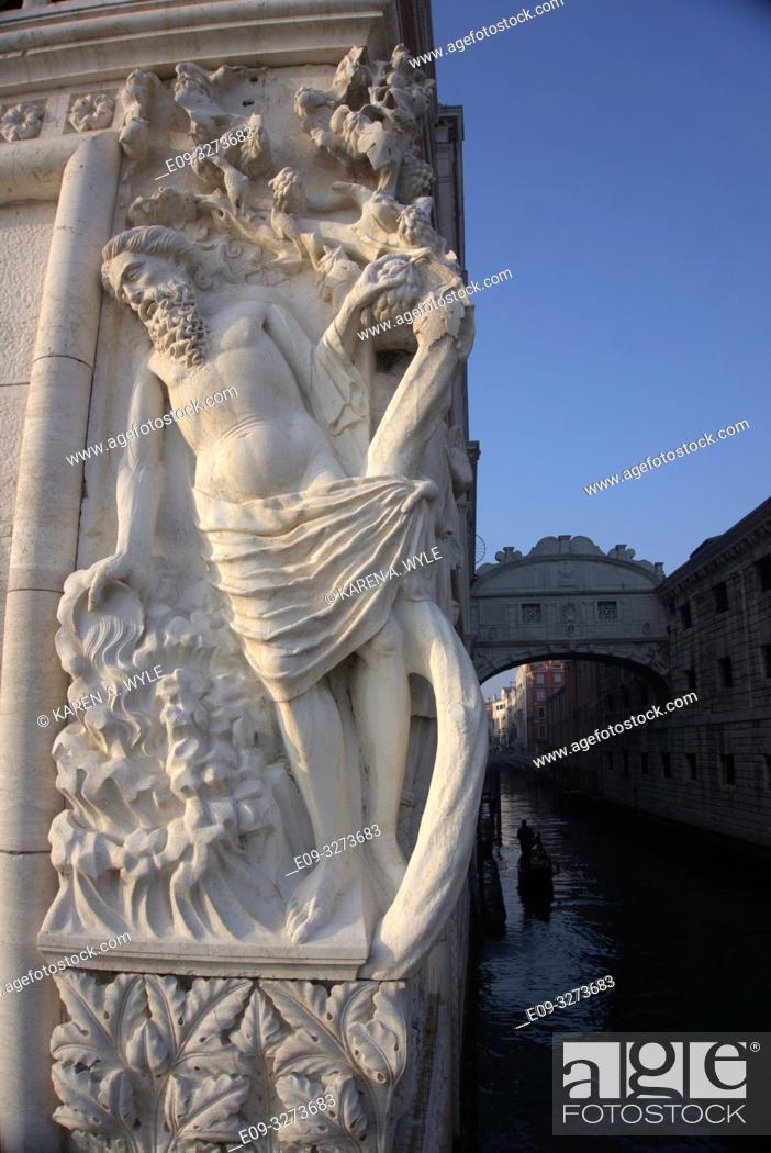 Stock Photo: sculptural detail on Ponte della Paglia along Riva degli Schiavoni, Venice, Italy.