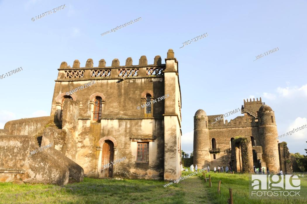 Stock Photo: Fasil Ghebbi, fortress like royal enclosure, Gonder, Ethiopia  The palace of Fasiladas on the right, to the left the library of Johannes I  The library was.