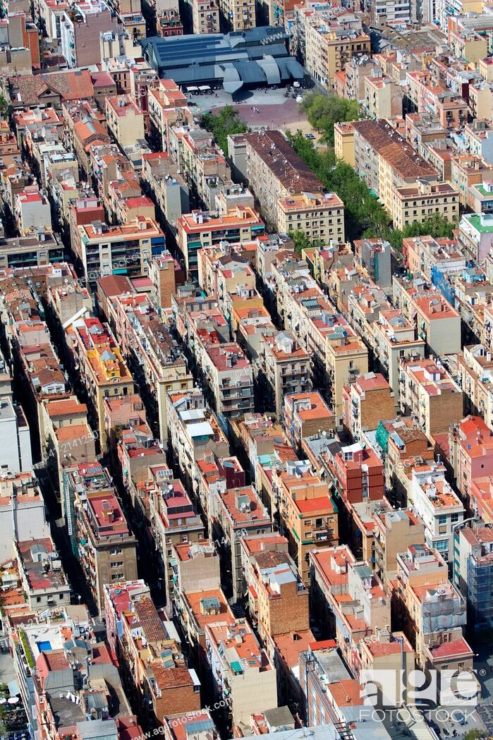 Stock Photo: Aerial view of the Barceloneta, Barcelona, Spain.