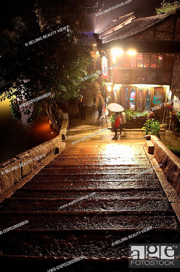 Stock Photo: Night view of Wu town, Zhejiang province, China.