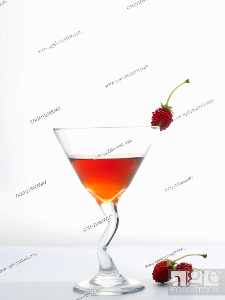 Stock Photo: raspberry, cocktail, drink, beverage, cocktail glass, food, glass.