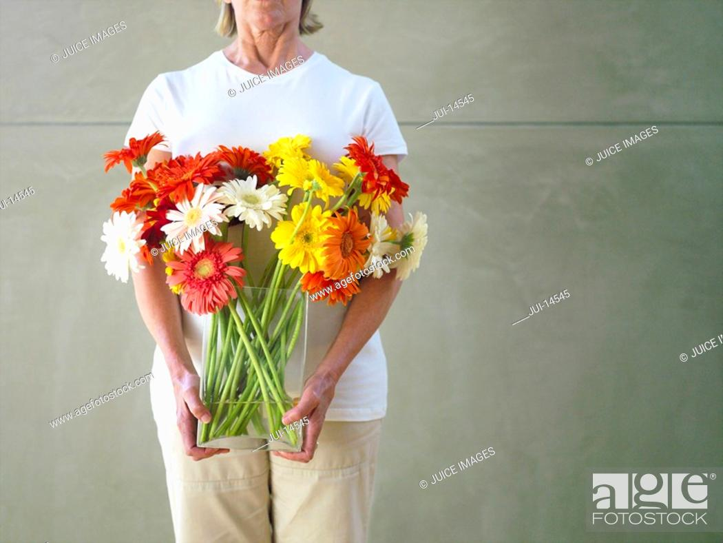 Stock Photo: Woman with vase of flowers, mid section.