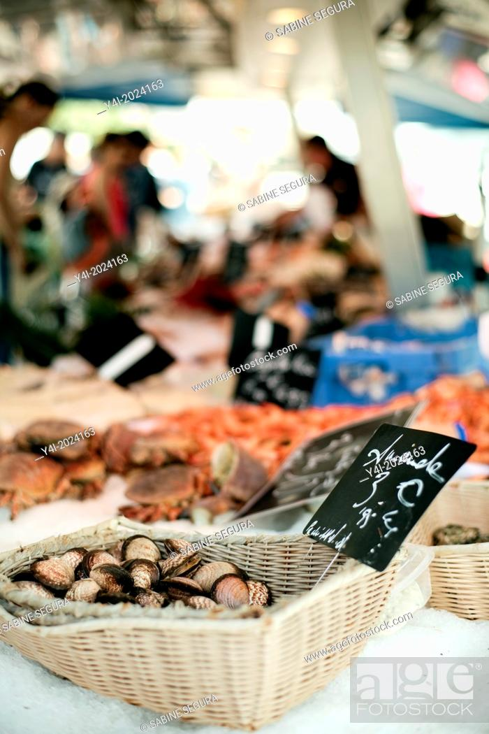 Stock Photo: Seafood. Market in Bordeaux. Gironde. Aquitaine. France. Europe.
