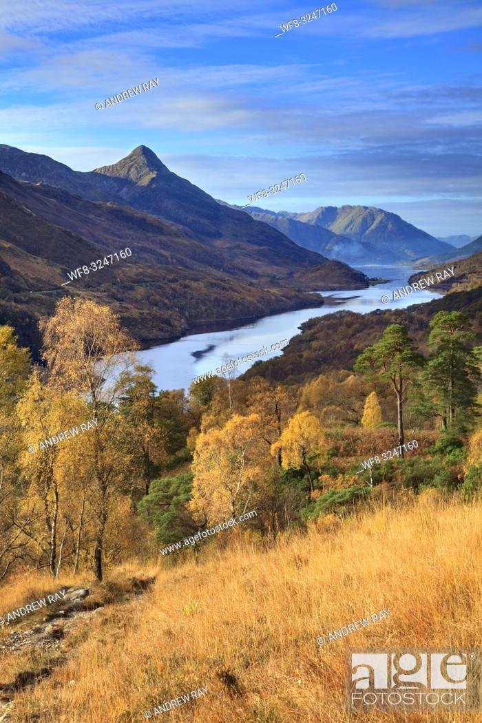 Stock Photo: Loch Leven and the Pap of Glencoe in the Scottish Highlands, captured from a high vantage point on the footpath from Grey Mare Falls to Mamore Lodge on a.
