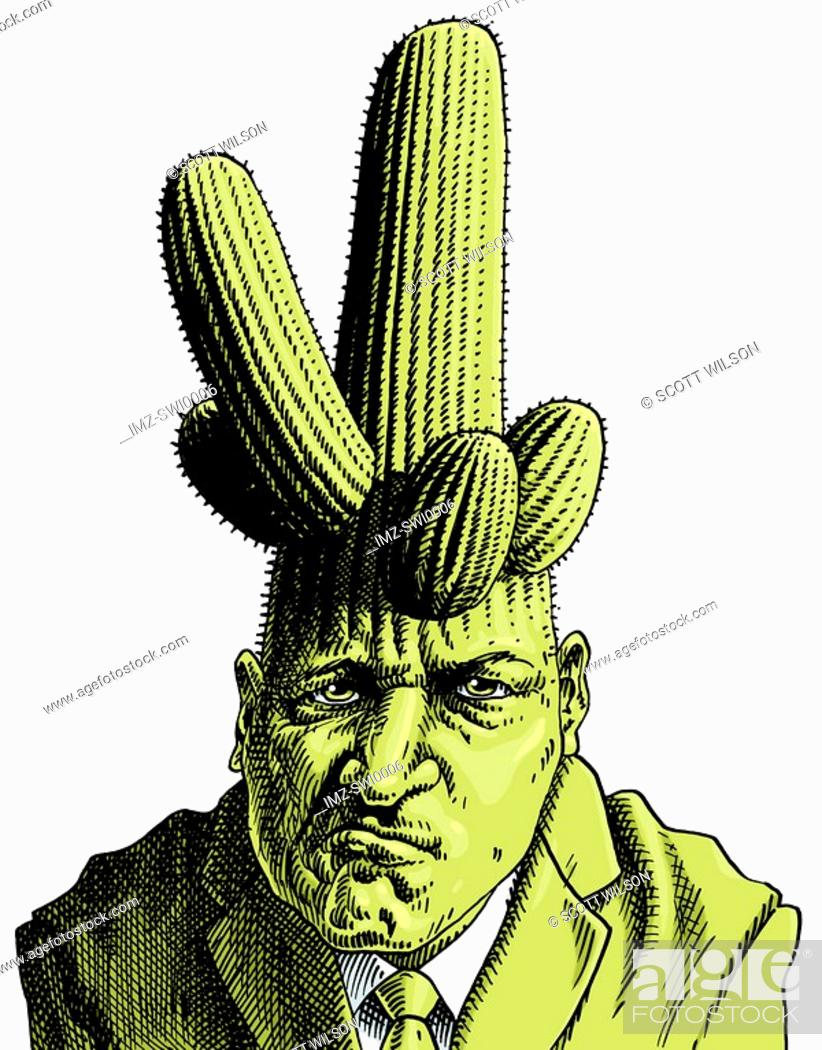 Stock Photo: Cactus growing on businessmans head.