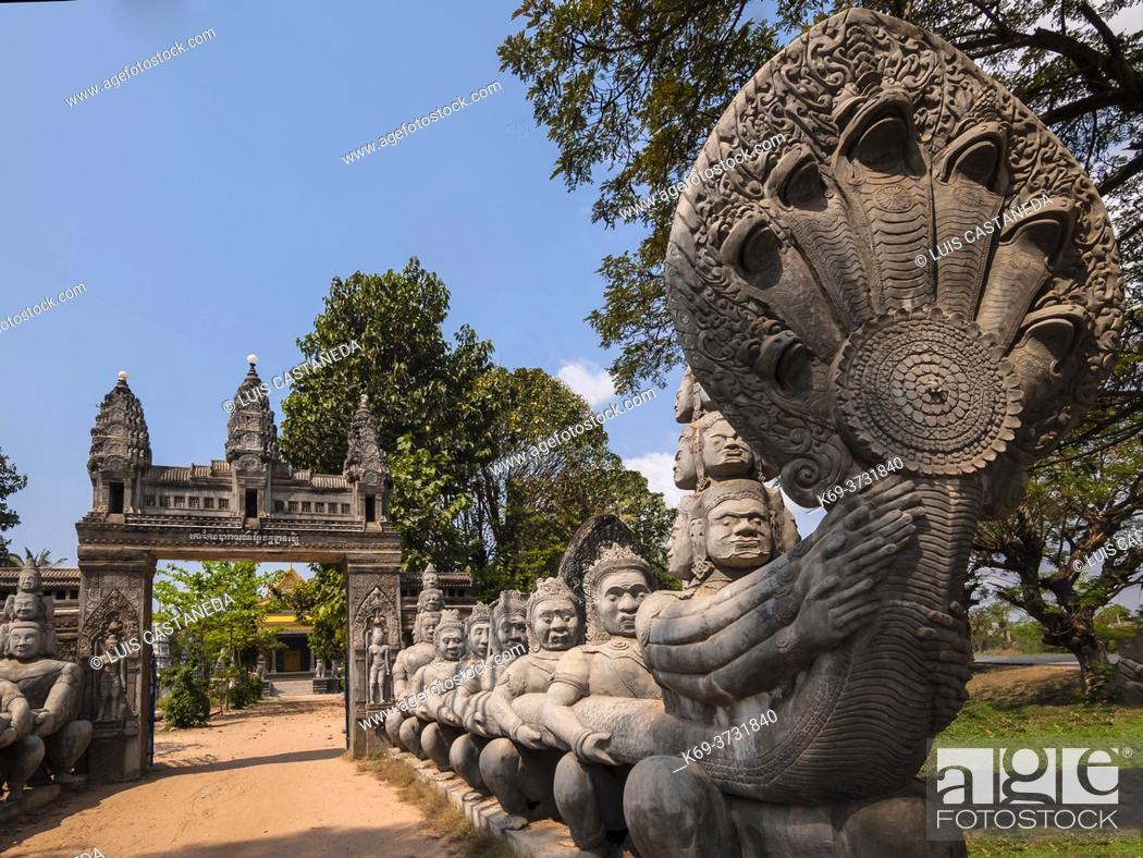 Stock Photo: Entrance to Knat Reamsey Pagoda. Siem Reap. Cambodia.