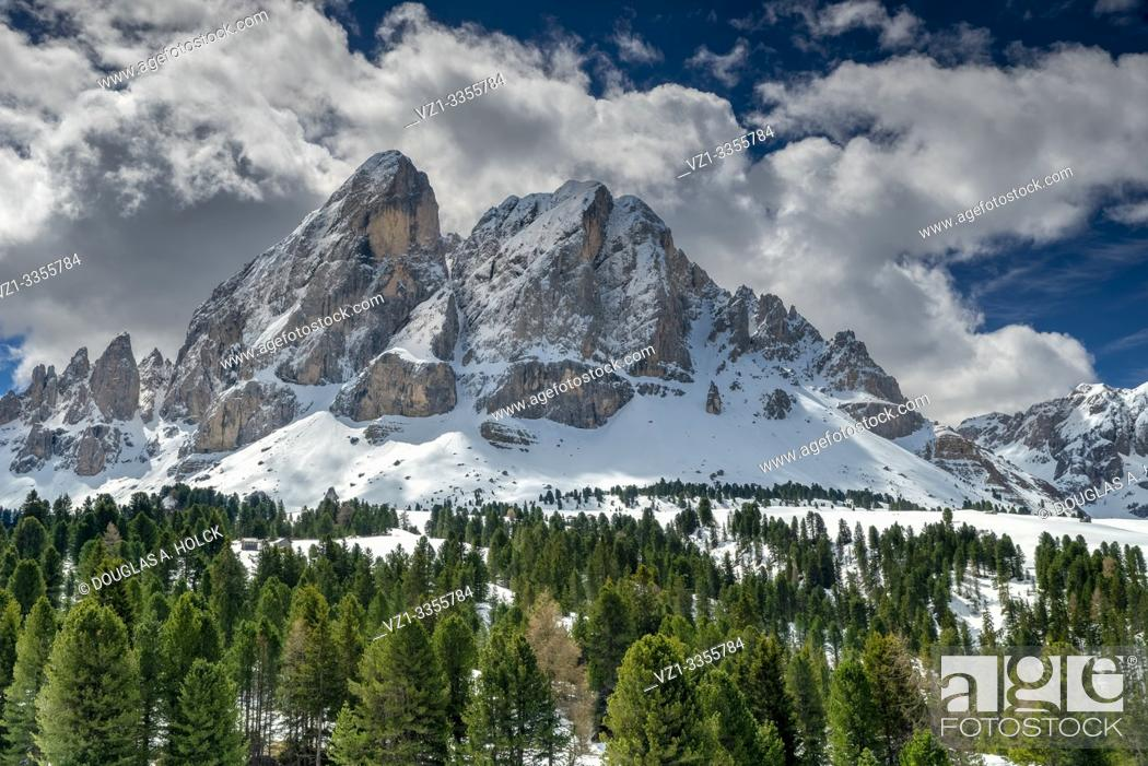 Stock Photo: Spring Snow and Clouds in the Dolomites South Tirol Italy World Location.