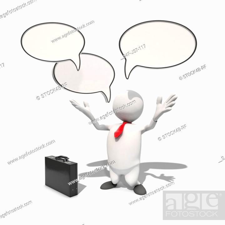 Stock Photo: Anthropomorphic businessman with speech bubbles above him, CGI.