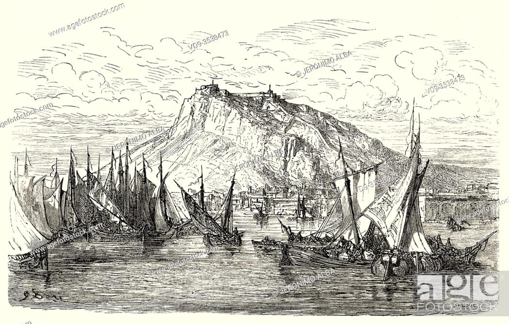 Stock Photo: Panoramic landscape view of the fishing port, the castle and the city of Alicante. Comunidad Valenciana. Spain, Europe. Old 19th century engraved illustration.