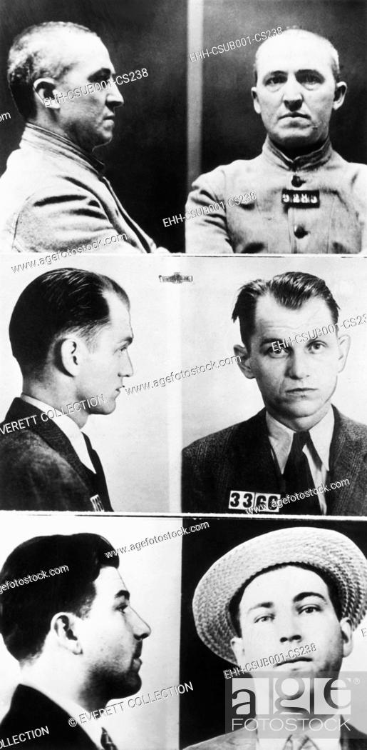 Imagen: Three of gangsters hunted by Federal agents, Dec. 16, 1933. From Top: Charles Connors, middle aged international crook with the Touhy mob; Basil Hugh Banghart.