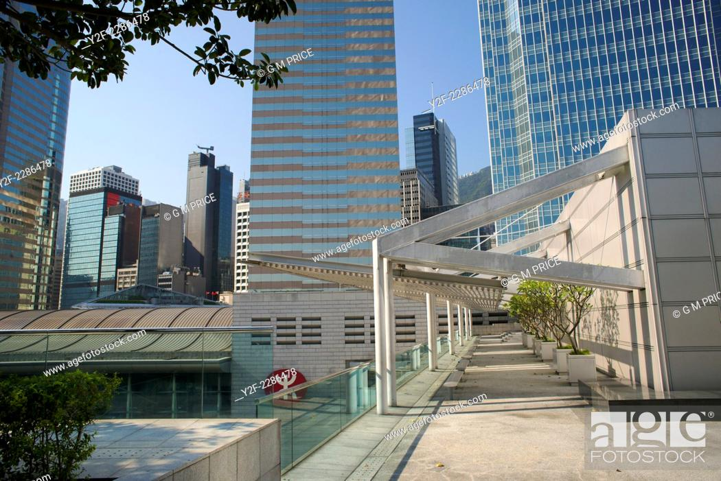 Stock Photo: roof of IFC shopping complex and commercial building skyline, Hong Kong.