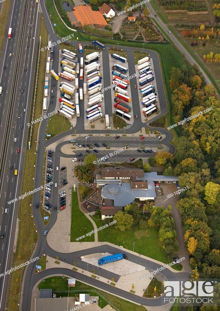 Imagen: Aerial photograph, A2 Autobahn, Rhynern motorway service area, Hamm, Ruhr district, North Rhine-Westphalia, Germany, Europe.