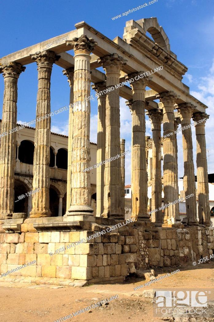 Stock Photo: Ruins of Diana's temple, in the old Roman city Emerita Augusta, Merida, Badajoz province, Ruta de la Plata, Spain, Europe.