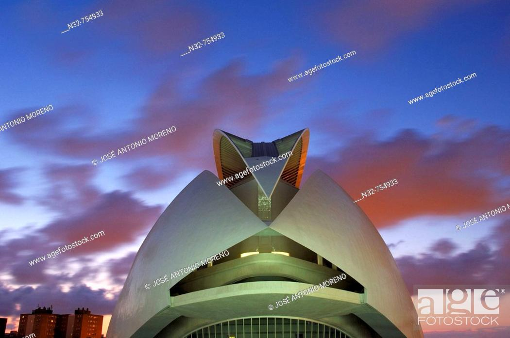 Stock Photo: Palace of Arts Reina Sofia by S. Calatrava, City of Arts and Sciences, Valencia. Comunidad Valenciana, Spain.
