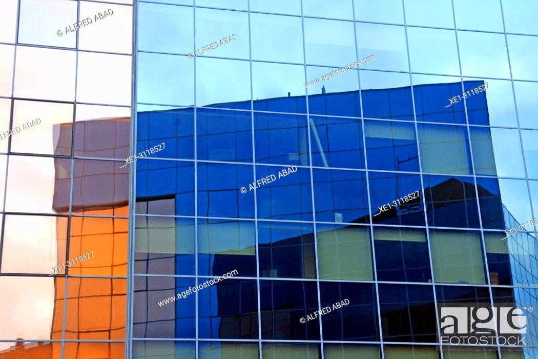 Stock Photo: reflections, glass windows, Fuerte del Principe building, Pamplona, Navarra, Spain.