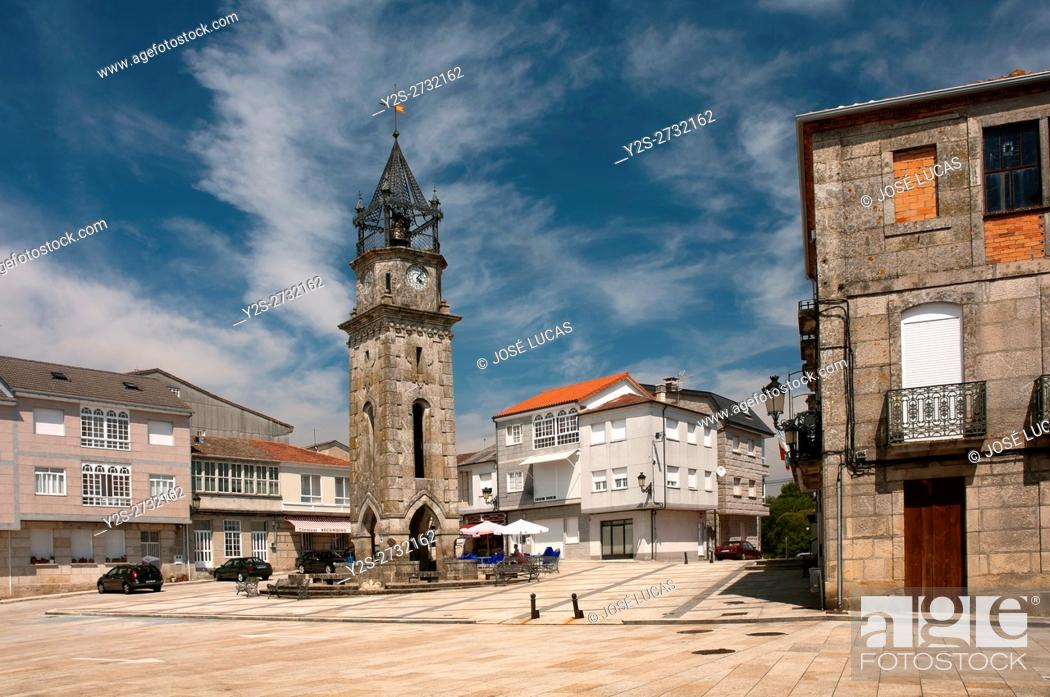 Stock Photo: Main Square and Clock Tower, San Cristovo de Cea, Orense province, Region of Galicia, Spain, Europe.