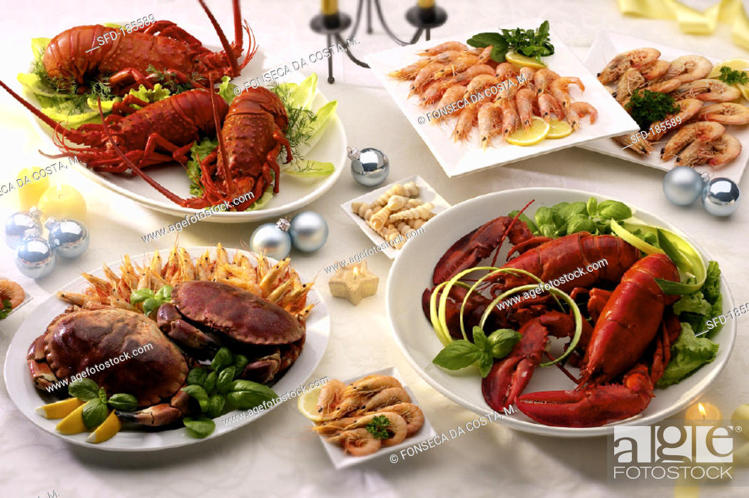 Stock Photo: Several platters of cooked shellfish.