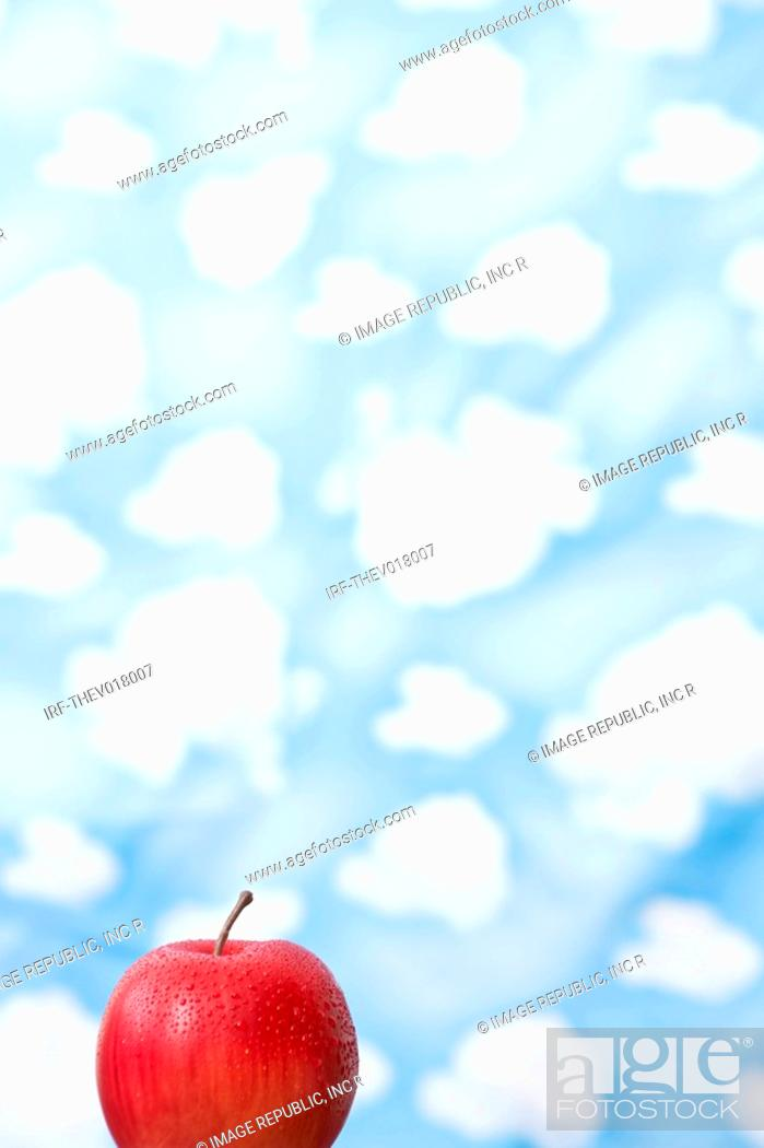 Stock Photo: wallpaper and apple.