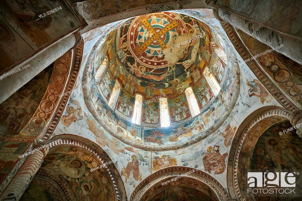 Stock Photo: Pictures & images of Nikortsminda ( Nicortsminda ) St Nicholas Georgian Orthodox Cathedral rich interior frescoes of the cupola dome, 16th century, Nikortsminda.