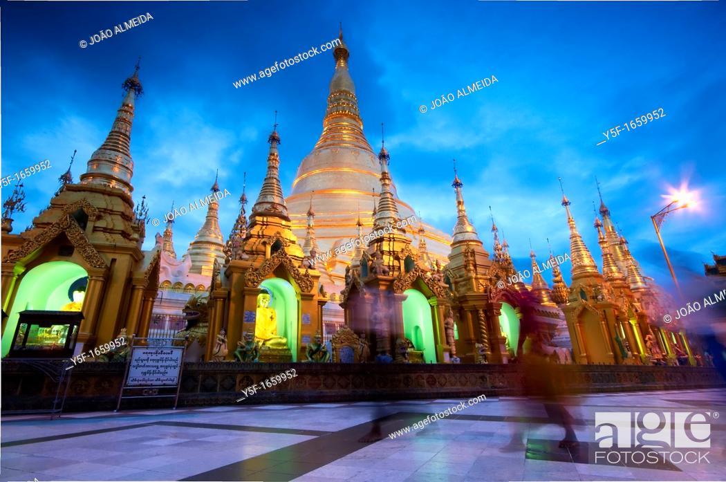 Stock Photo: Shwedagon Pagoda, Yangon's greatest temple, by dusk.