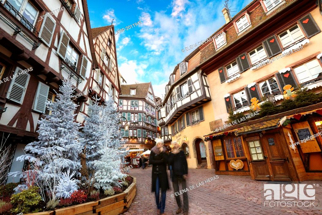 Stock Photo: City center with Christmas decoration. Colmar. Wine route. Haut-Rhin. Alsace. France.