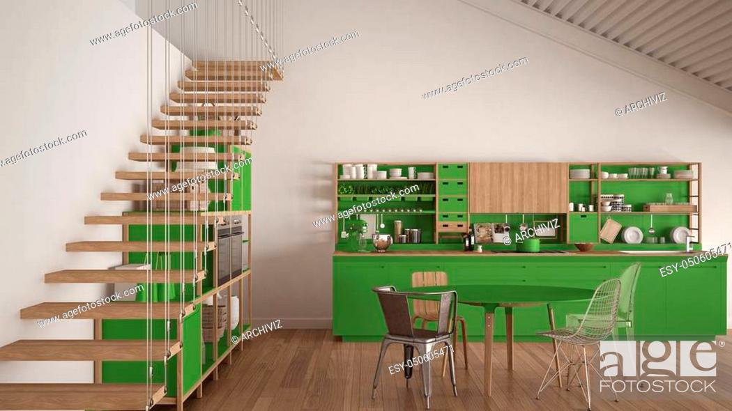 Stock Photo: Minimalist white and green wooden kitchen, loft with stairs, classic scandinavian interior design.