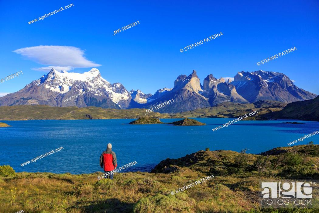 Stock Photo: Hiker in the National Park Torres del Paine, Patagonia, Chile.