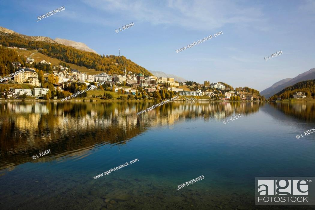 Stock Photo: Lake St. Moritz, Switzerland, Graubuenden, Engadine, St. Moritz.