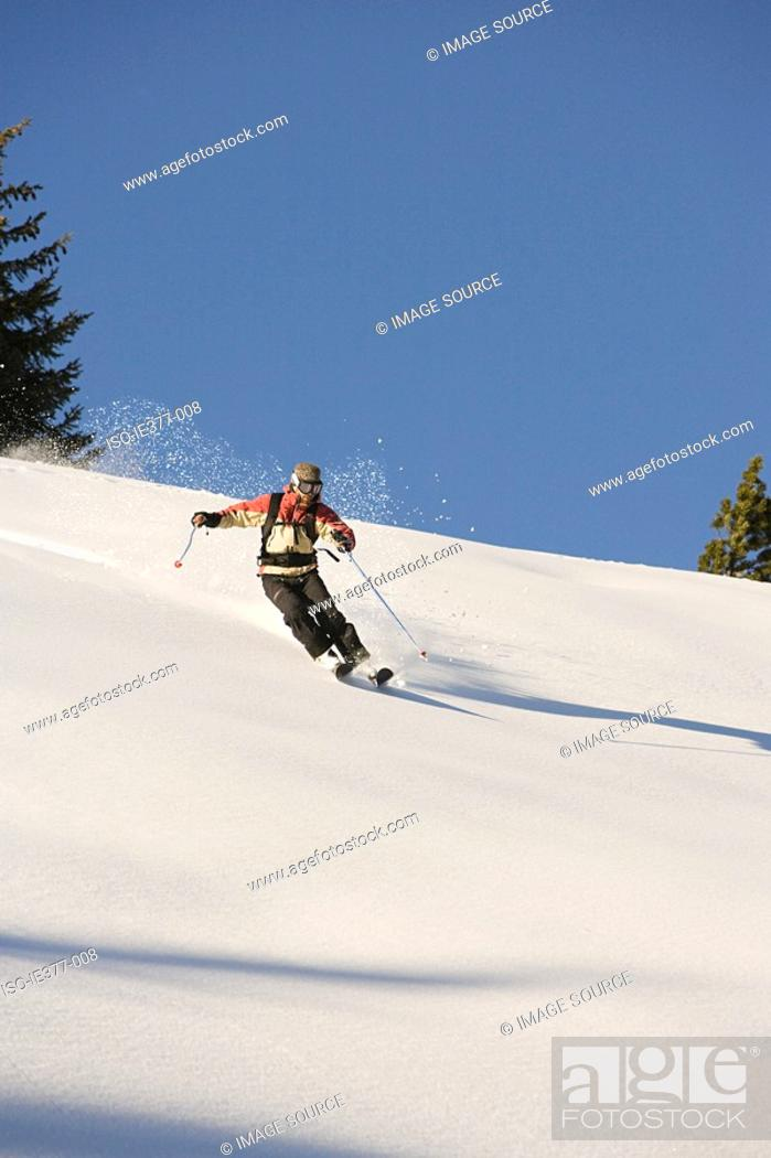 Stock Photo: A man skiing.
