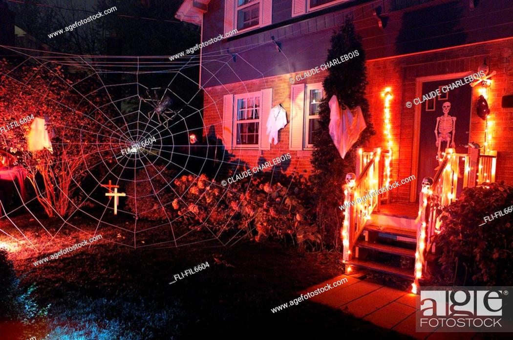 Stock Photo: Home Decorated for Halloween, Ste-Anne des Maronniers, Quebec.