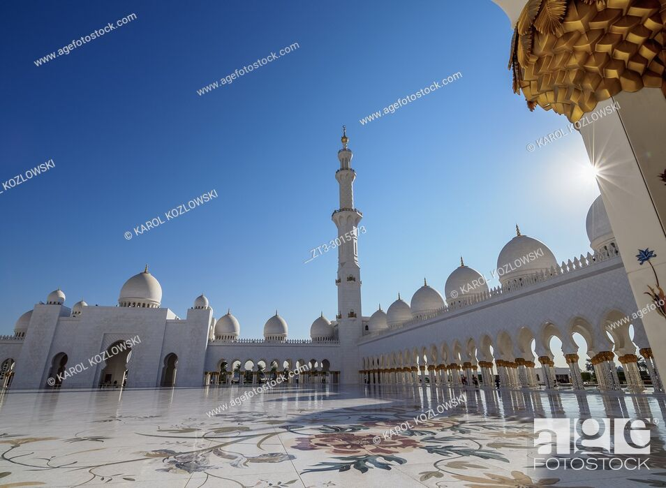 Stock Photo: Sheikh Zayed bin Sultan Al Nahyan Grand Mosque, Abu Dhabi, United Arab Emirates.