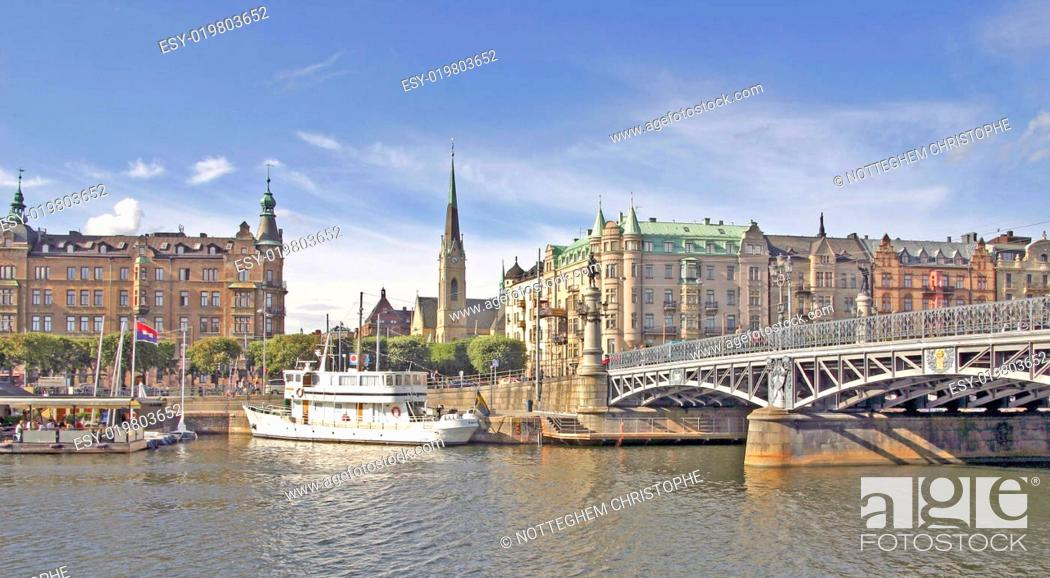 Stock Photo: view of the harbour of stockholm.