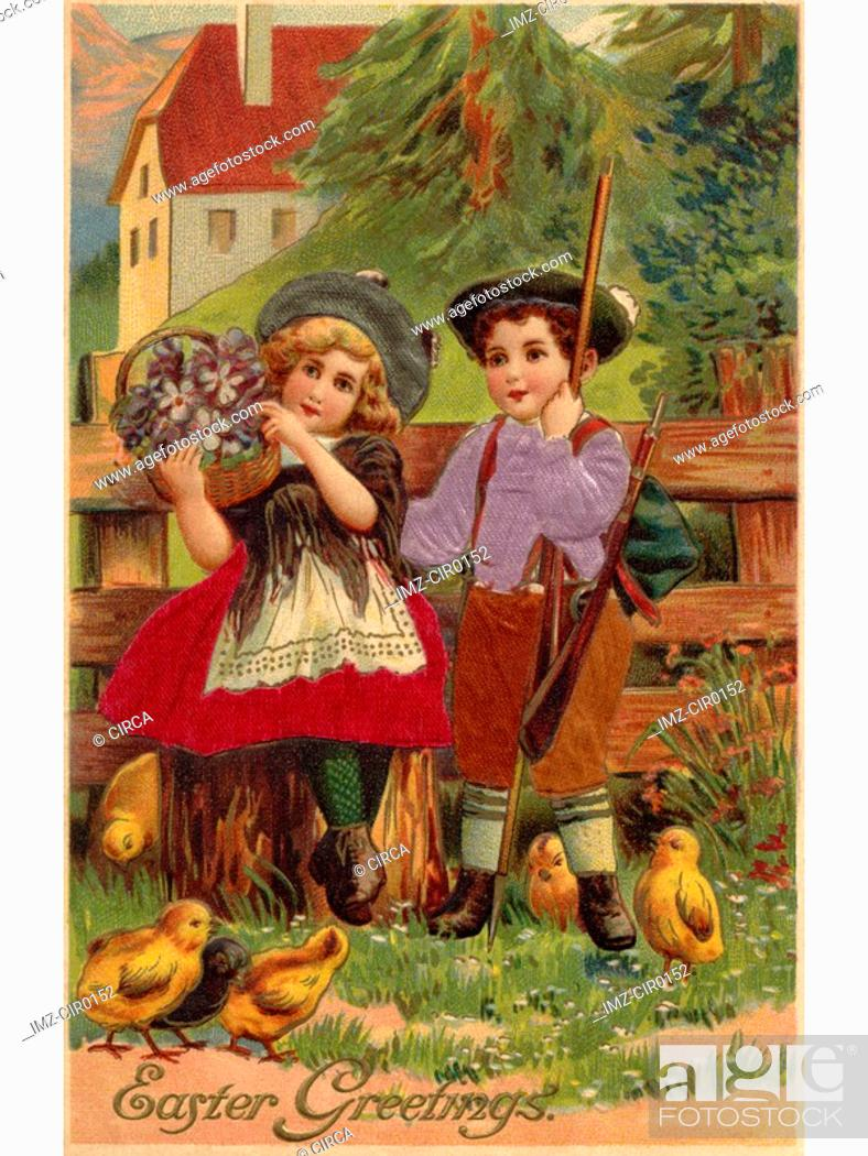Stock Photo: A vintage Easter postcard of a little boy and girl surrounded by chicks.