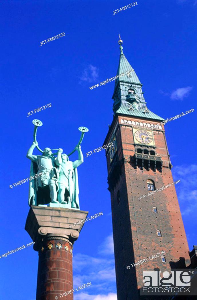 Stock Photo: Denmark, Copenhagen, the City Hall tower.