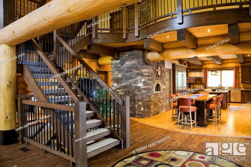 Brown Stained Pinewood Staircase And Mezzanine Plus Kitchen With Reclaimed Barn Wood Table And Stock Photo Picture And Rights Managed Image Pic Acx Acp101161 Agefotostock