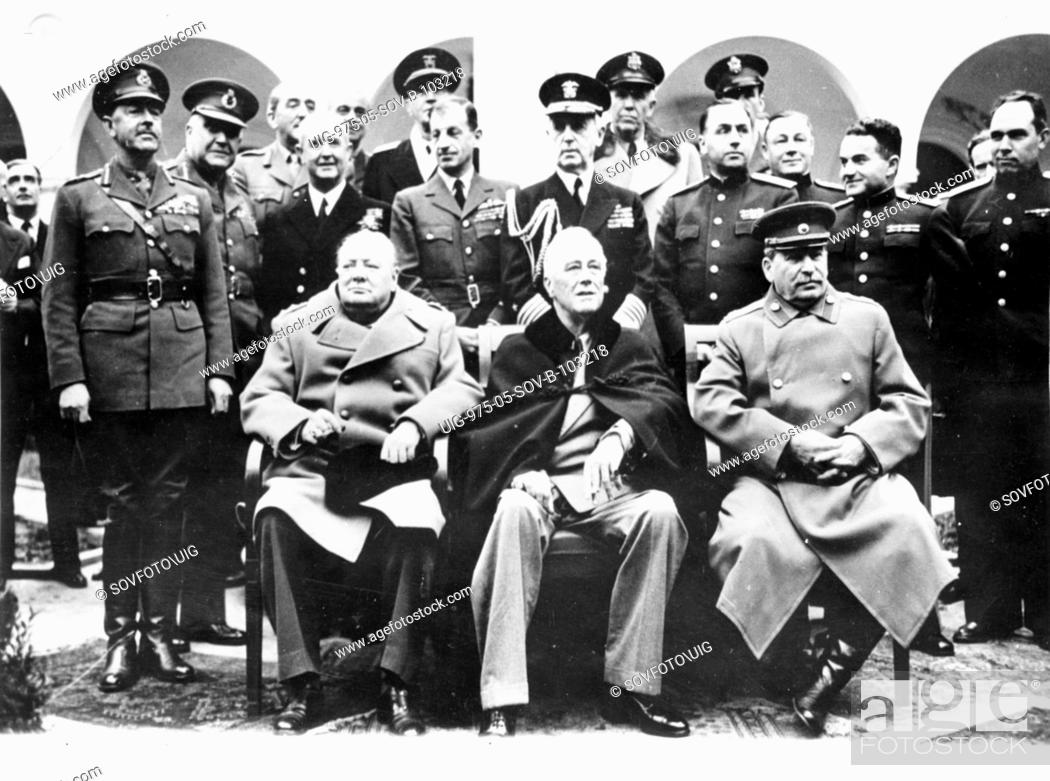 Big Three Churchill Roosevelt And Stalin At Livadia Palace During
