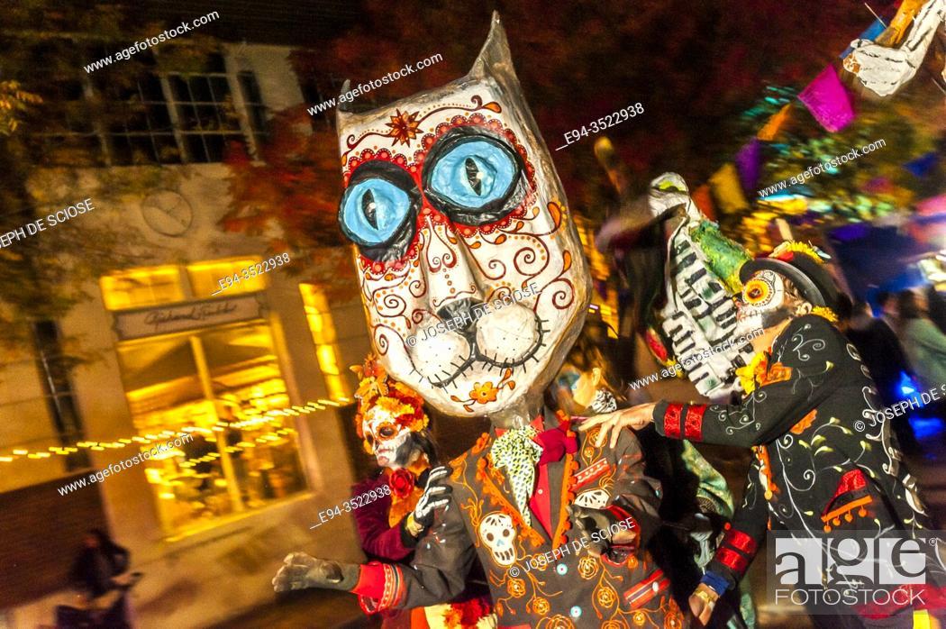 Stock Photo: A symbolic mask at the Day of the Dead celebration, Birmingham, Alabama.