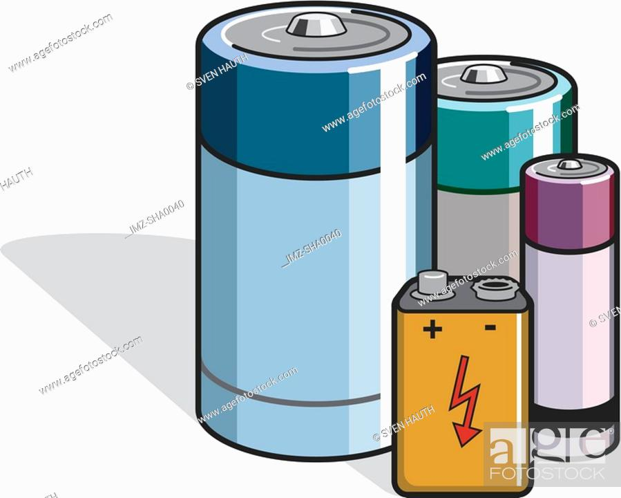 Stock Photo: Different types of batteries illustrated on a whte background.