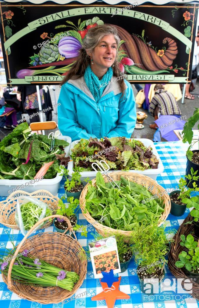 Stock Photo: Saltspring Island market, British Columbia, Canada.