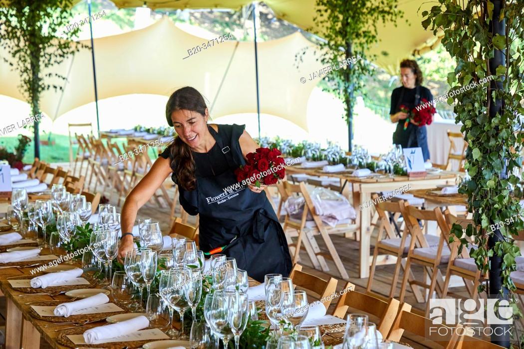 Stock Photo: Floral decoration, Dining room, tense tent, Event Celebration, Wedding, Hondarribia, Gipuzkoa, Spain.