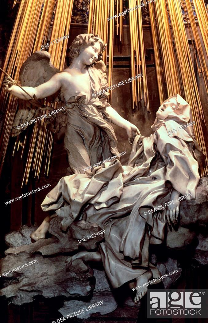 Stock Photo: The Ecstasy of St Teresa of Avila, by Gian Lorenzo Bernini (1598-1680), a sculpture in marble and gilded bronze. Cornaro Chapel of the Church of Santa Maria.