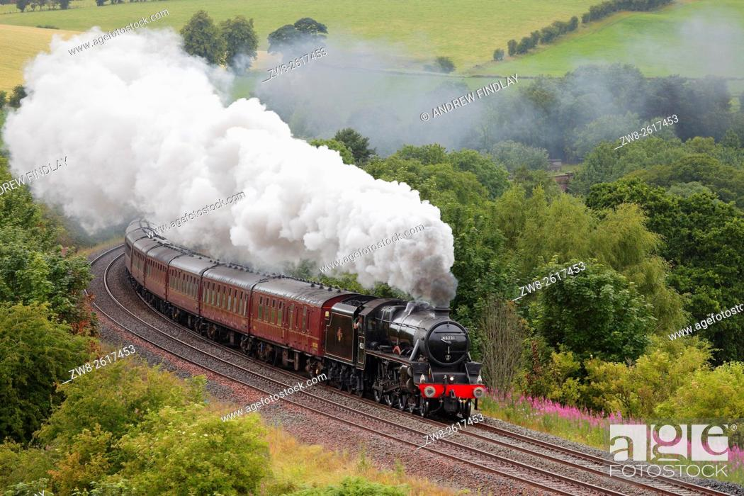 Stock Photo: The Sherwood Forester LMS Stanier Class 5 4-6-0 45231, Steam train near Low Baron Wood Farm, Armathwaite, Settle to Carlisle Railway Line, Eden Valley, Cumbria.
