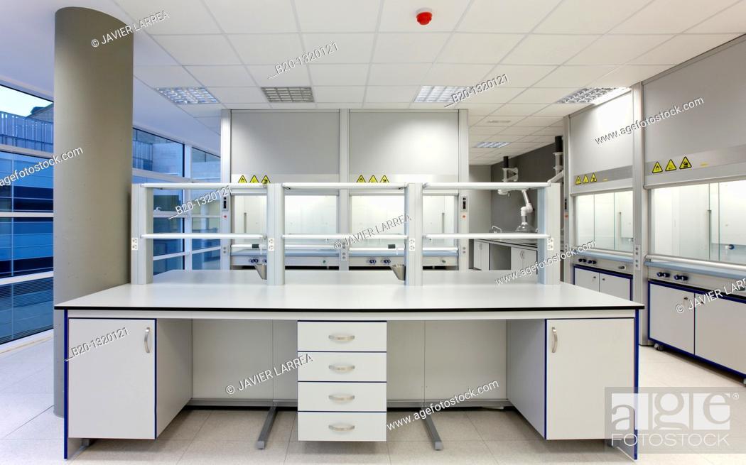 Stock Photo: Furniture of a chemistry laboratory, biomedicine, San Sebastian, Donostia, Gipuzkoa, Euskadi, Spain.