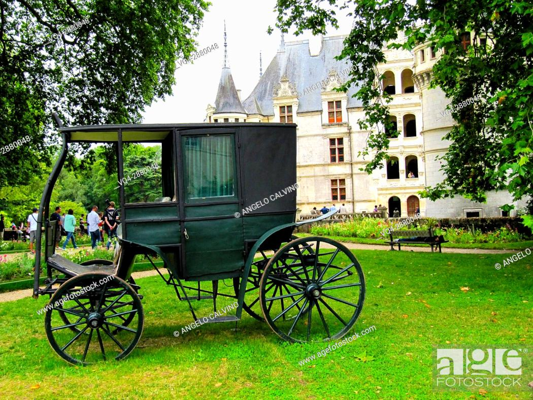 Stock Photo: Ancient carriage in the garden of the Renaissance Château d'Azay-le-Rideau with its River Indre moat, Built between 1518 and 1527, Loire Valley, France.